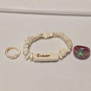 Shell Bracelet, Two Rings